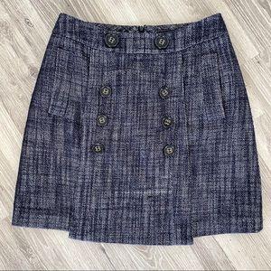 BCBGMaxAzria Wool Blend Tweed mini Skirt Black 8